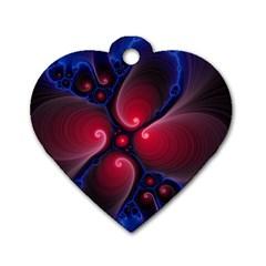 Color Fractal Pattern Dog Tag Heart (One Side)
