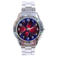 Color Fractal Pattern Stainless Steel Analogue Watch