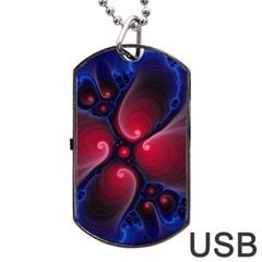 Color Fractal Pattern Dog Tag USB Flash (One Side)