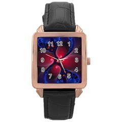 Color Fractal Pattern Rose Gold Leather Watch