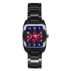 Color Fractal Pattern Stainless Steel Barrel Watch
