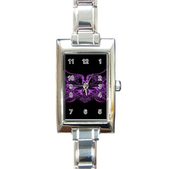 Beautiful Pink Lovely Image In Pink On Black Rectangle Italian Charm Watch