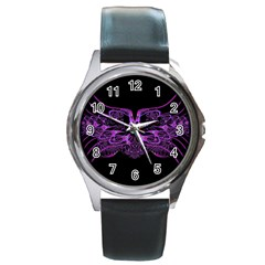 Beautiful Pink Lovely Image In Pink On Black Round Metal Watch