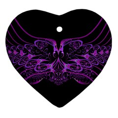 Beautiful Pink Lovely Image In Pink On Black Ornament (heart)