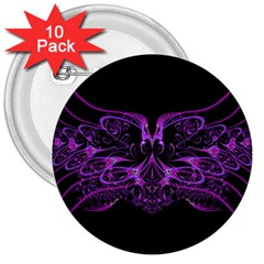 Beautiful Pink Lovely Image In Pink On Black 3  Buttons (10 Pack)