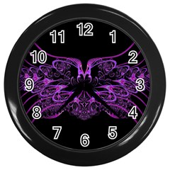Beautiful Pink Lovely Image In Pink On Black Wall Clocks (Black)