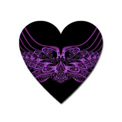 Beautiful Pink Lovely Image In Pink On Black Heart Magnet