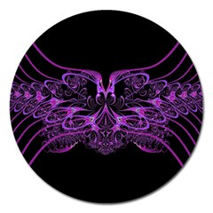 Beautiful Pink Lovely Image In Pink On Black Magnet 5  (Round)