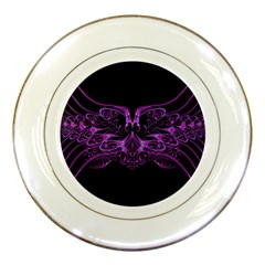 Beautiful Pink Lovely Image In Pink On Black Porcelain Plates
