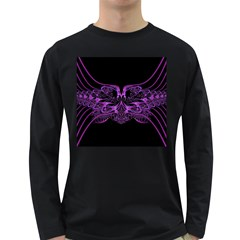Beautiful Pink Lovely Image In Pink On Black Long Sleeve Dark T Shirts