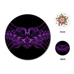 Beautiful Pink Lovely Image In Pink On Black Playing Cards (round)