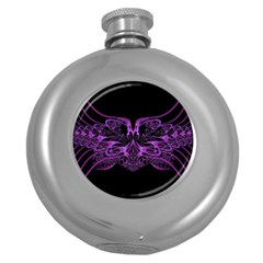 Beautiful Pink Lovely Image In Pink On Black Round Hip Flask (5 Oz)