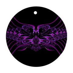 Beautiful Pink Lovely Image In Pink On Black Round Ornament (Two Sides)
