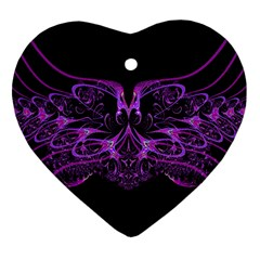 Beautiful Pink Lovely Image In Pink On Black Heart Ornament (two Sides)