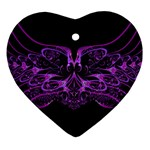 Beautiful Pink Lovely Image In Pink On Black Heart Ornament (Two Sides) Front