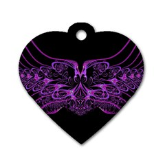 Beautiful Pink Lovely Image In Pink On Black Dog Tag Heart (Two Sides)