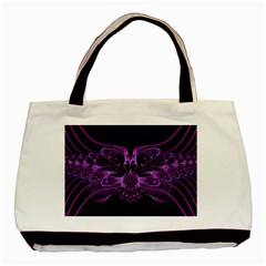 Beautiful Pink Lovely Image In Pink On Black Basic Tote Bag (two Sides)