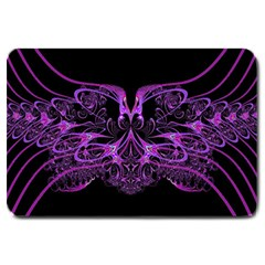 Beautiful Pink Lovely Image In Pink On Black Large Doormat