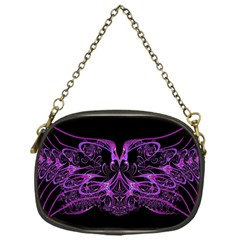 Beautiful Pink Lovely Image In Pink On Black Chain Purses (one Side)