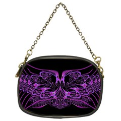 Beautiful Pink Lovely Image In Pink On Black Chain Purses (Two Sides)