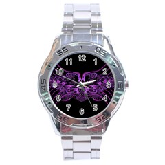Beautiful Pink Lovely Image In Pink On Black Stainless Steel Analogue Watch