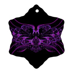 Beautiful Pink Lovely Image In Pink On Black Snowflake Ornament (two Sides)