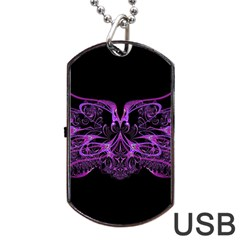 Beautiful Pink Lovely Image In Pink On Black Dog Tag USB Flash (Two Sides)