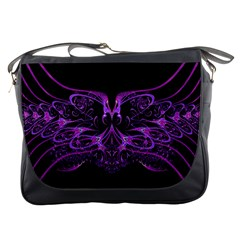 Beautiful Pink Lovely Image In Pink On Black Messenger Bags