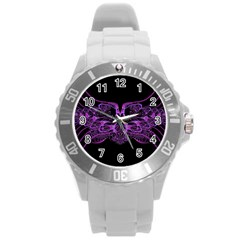 Beautiful Pink Lovely Image In Pink On Black Round Plastic Sport Watch (L)