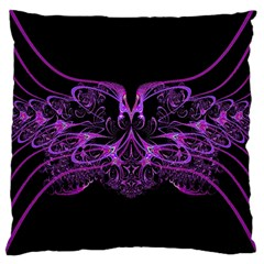 Beautiful Pink Lovely Image In Pink On Black Large Cushion Case (one Side)