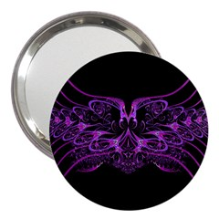 Beautiful Pink Lovely Image In Pink On Black 3  Handbag Mirrors