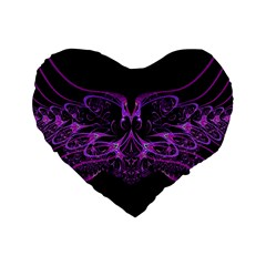 Beautiful Pink Lovely Image In Pink On Black Standard 16  Premium Heart Shape Cushions