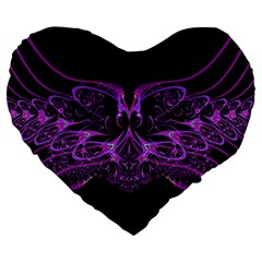Beautiful Pink Lovely Image In Pink On Black Large 19  Premium Heart Shape Cushions