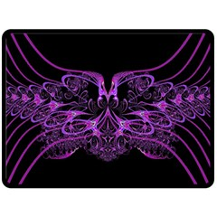 Beautiful Pink Lovely Image In Pink On Black Double Sided Fleece Blanket (Large)