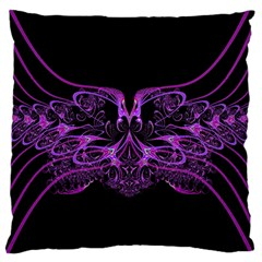 Beautiful Pink Lovely Image In Pink On Black Large Flano Cushion Case (Two Sides)