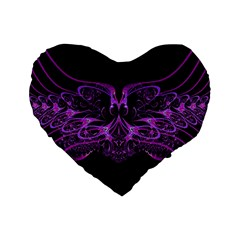 Beautiful Pink Lovely Image In Pink On Black Standard 16  Premium Flano Heart Shape Cushions
