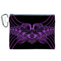 Beautiful Pink Lovely Image In Pink On Black Canvas Cosmetic Bag (xl)