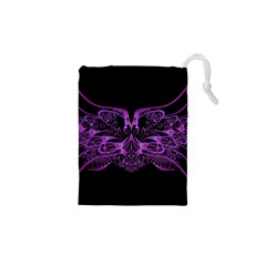 Beautiful Pink Lovely Image In Pink On Black Drawstring Pouches (XS)