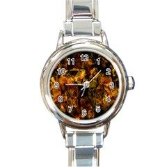 Autumn Colors In An Abstract Seamless Background Round Italian Charm Watch