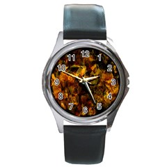 Autumn Colors In An Abstract Seamless Background Round Metal Watch