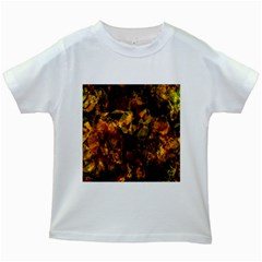Autumn Colors In An Abstract Seamless Background Kids White T-Shirts