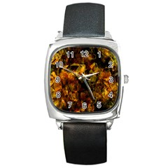 Autumn Colors In An Abstract Seamless Background Square Metal Watch