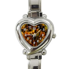 Autumn Colors In An Abstract Seamless Background Heart Italian Charm Watch