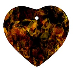 Autumn Colors In An Abstract Seamless Background Heart Ornament (Two Sides)