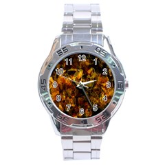 Autumn Colors In An Abstract Seamless Background Stainless Steel Analogue Watch