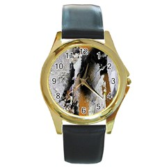 Abstract Graffiti Background Round Gold Metal Watch