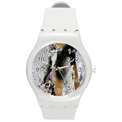 Abstract Graffiti Background Round Plastic Sport Watch (M)