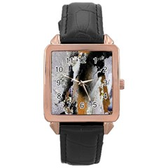 Abstract Graffiti Background Rose Gold Leather Watch