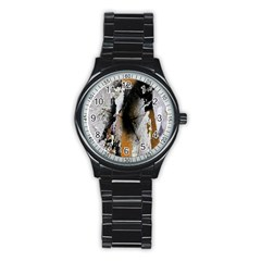Abstract Graffiti Background Stainless Steel Round Watch