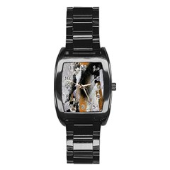 Abstract Graffiti Background Stainless Steel Barrel Watch